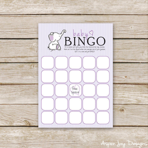 Purple Elephant Baby Bingo