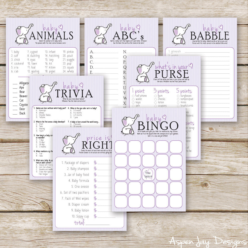 Purple Elephant 7 Baby Shower Games Package