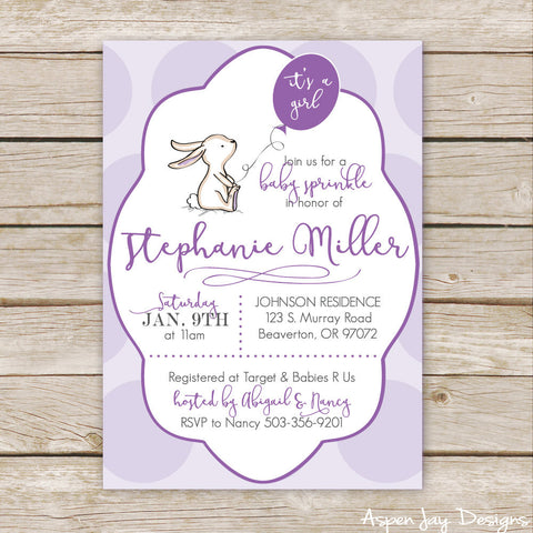 Purple Bunny Baby Shower Invites