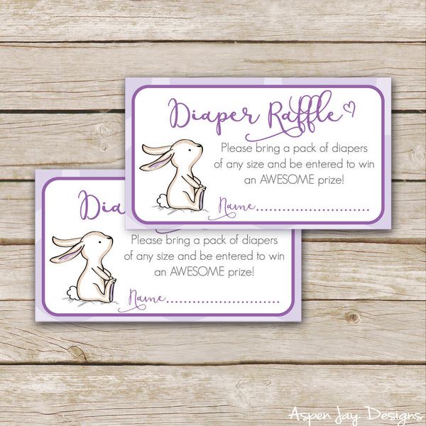 Purple Bunny Diaper Raffle Tickets & Sign
