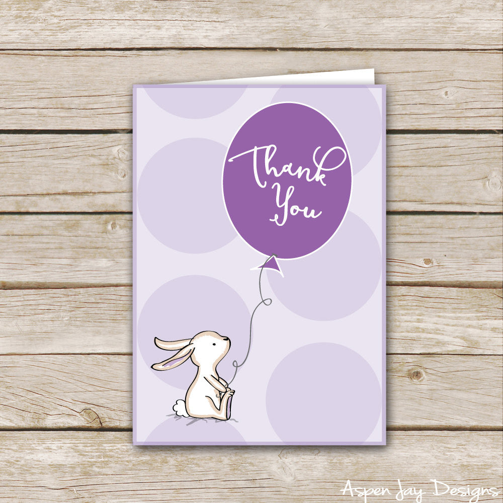 Purple Bunny Thank You Cards