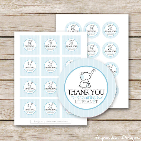 Blue Elephant Shower Favor Tags
