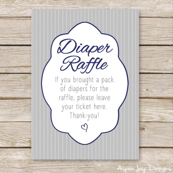 Navy Elephant Diaper Raffle Tickets & Sign
