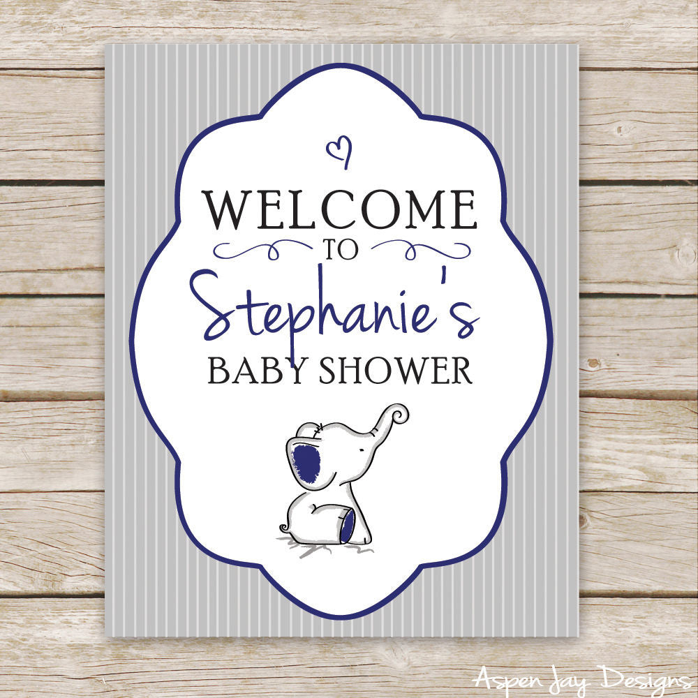 Navy Elephant Shower Welcome Sign