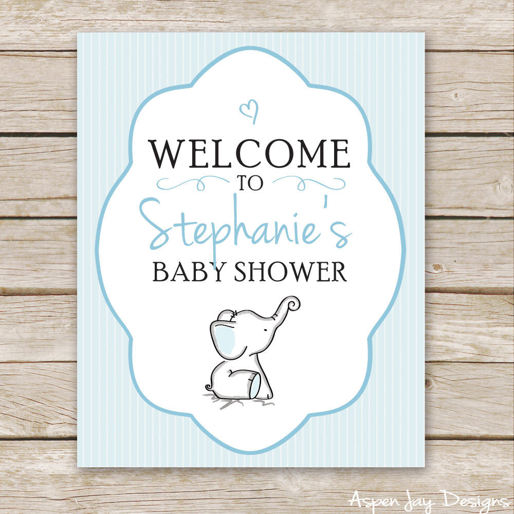 Blue Elephant Shower Welcome Sign