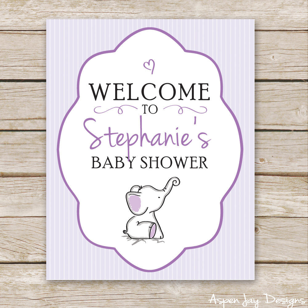 Purple Elephant Shower Welcome Sign