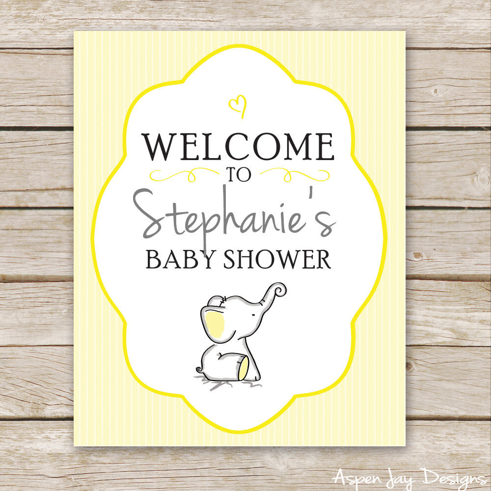 Yellow Elephant Shower Welcome Sign