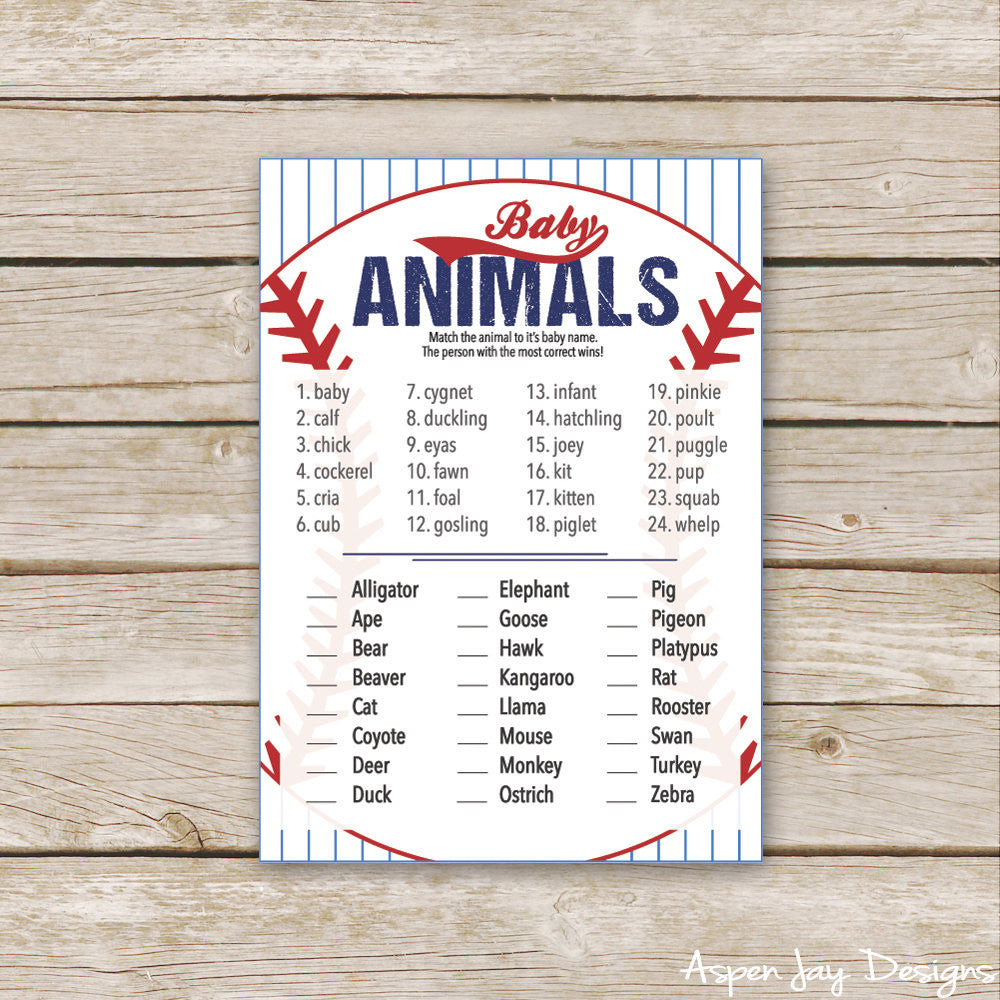 Baseball Baby Animal Names