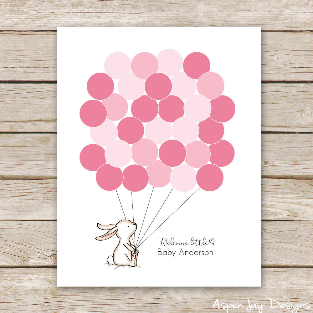 Pink Bunny Balloon Guest Book