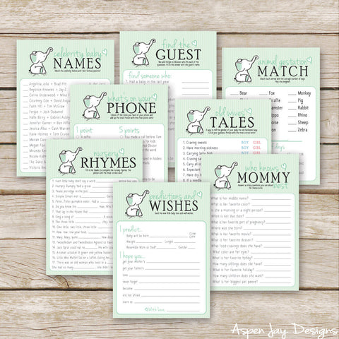 Green Elephant 8 Baby Shower Games Package