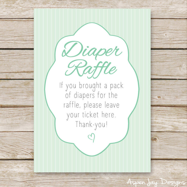 Green Elephant Diaper Raffle Tickets & Sign