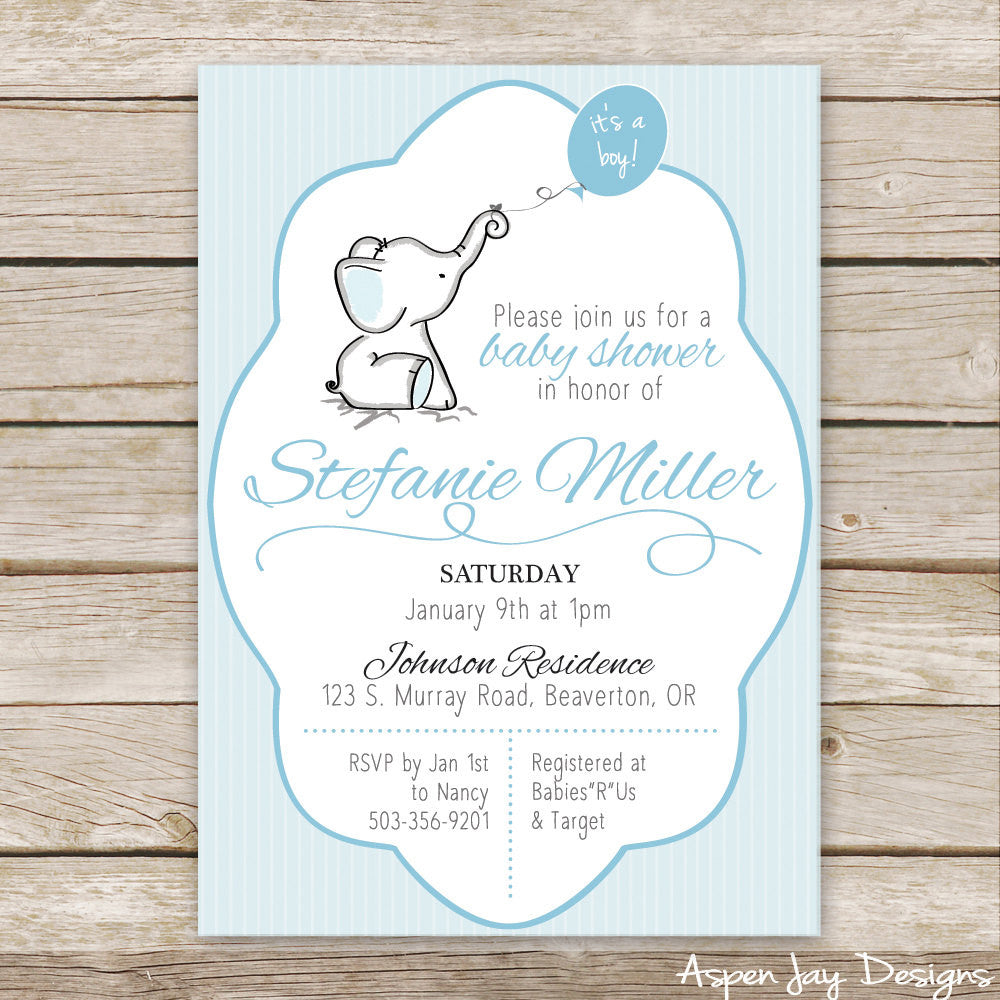 Blue Elephant Baby Shower Invites