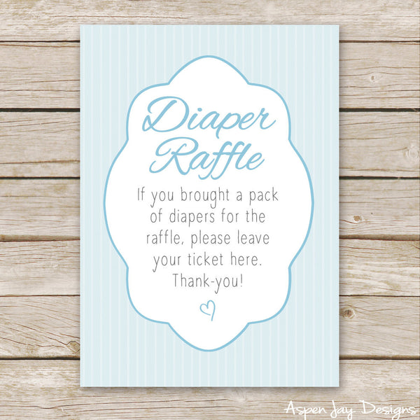 Blue Elephant Diaper Raffle Tickets & Sign