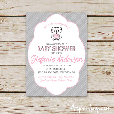 Pink Owl Baby Shower Invites
