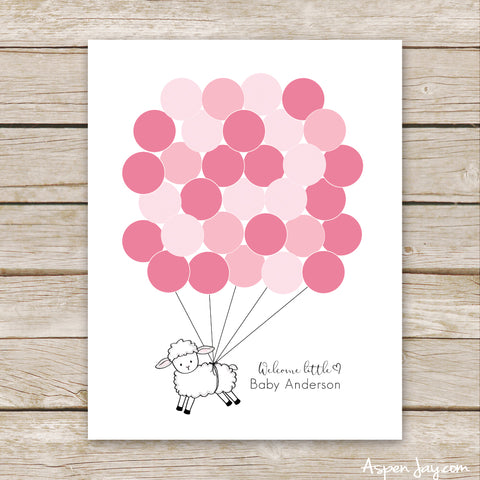 Pink Lamb Balloon Guest Book