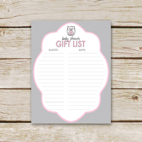 Pink Owl Baby Shower Gift List