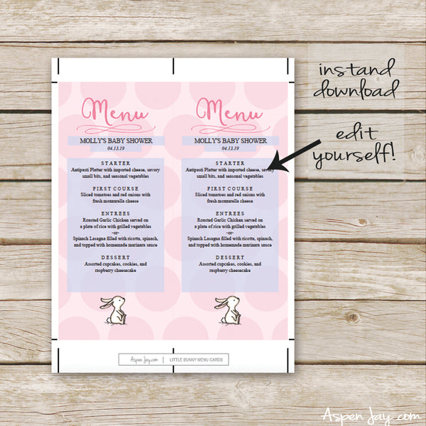 Pink Bunny Menu Card