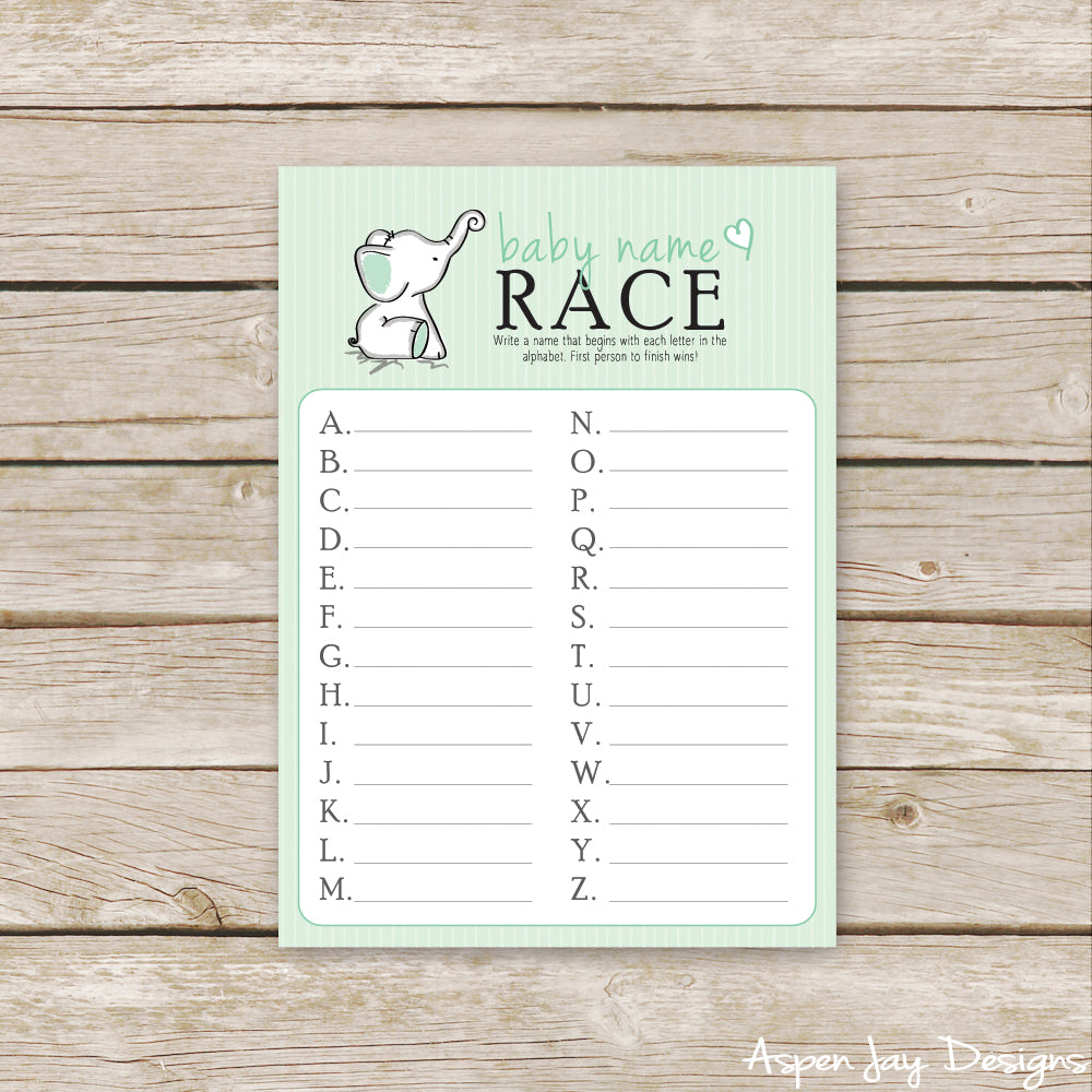 Green Elephant Baby Name Race
