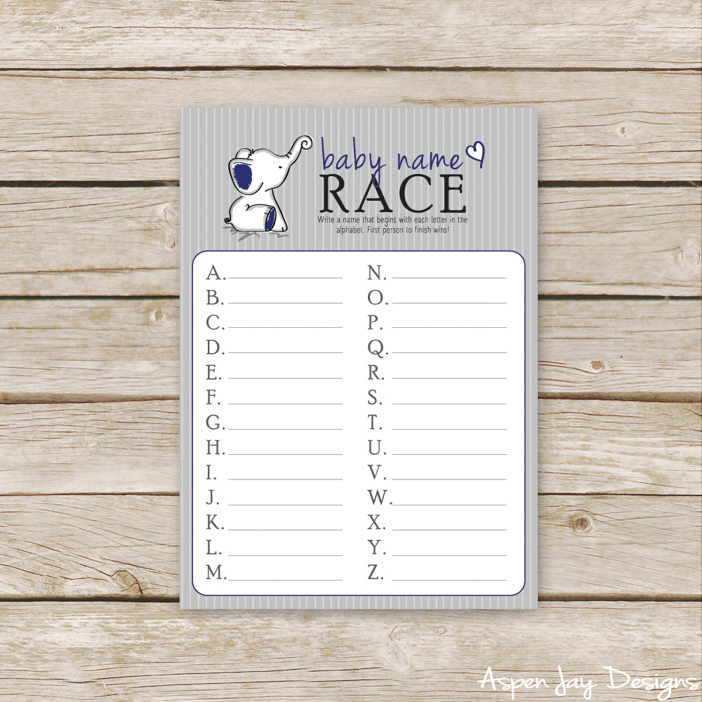 Navy Elephant Baby Name Race
