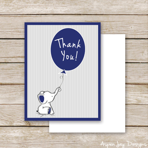 Navy Elephant Thank You Postcard