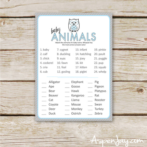 Blue Owl Baby Animal Names