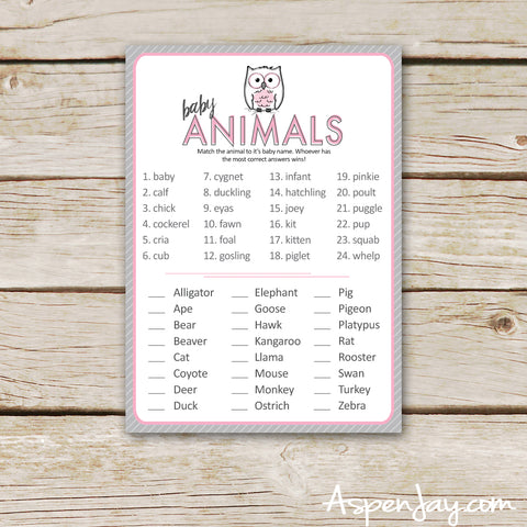 Pink Owl Baby Animal Names
