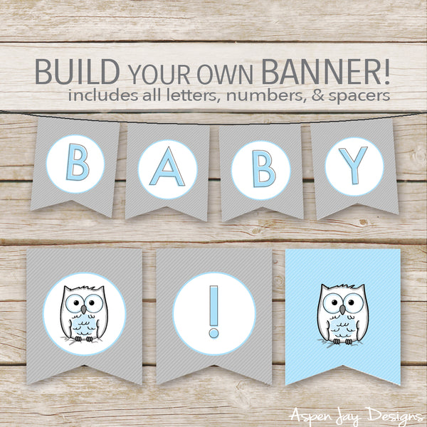 Blue Owl Banner - ALL Letters & Numbers