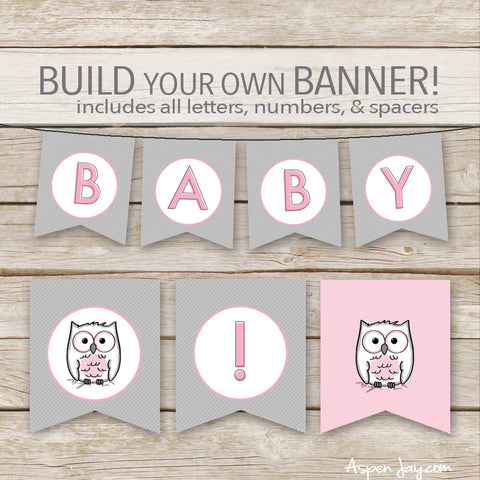 Pink Owl Banner - ALL Letters & Numbers