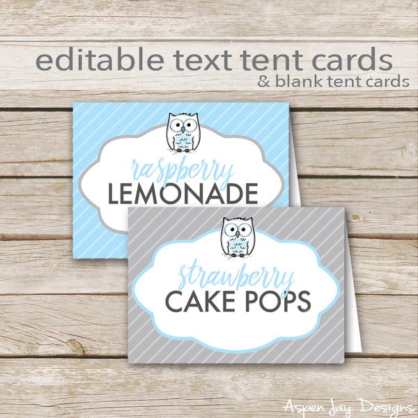 Editable Blue Owl Party Labels