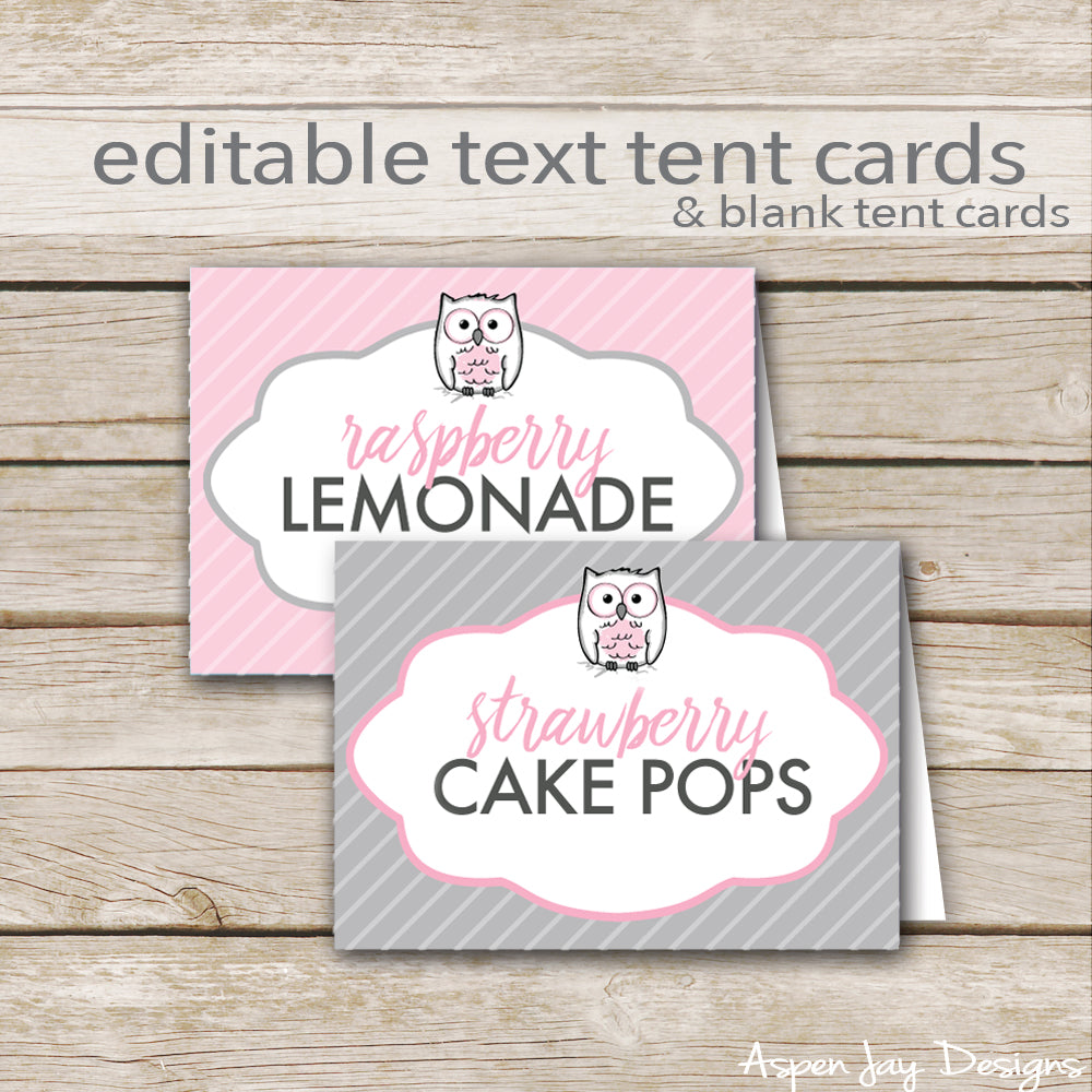 Editable Pink Owl Party Labels