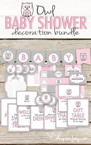 Pink Owl Baby Shower Decor Bundle