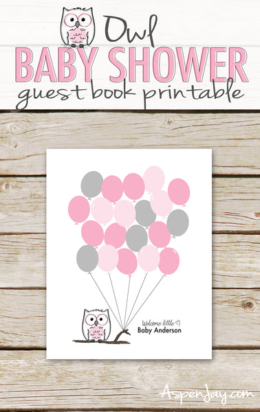 Pink Owl Balloon Guest Book