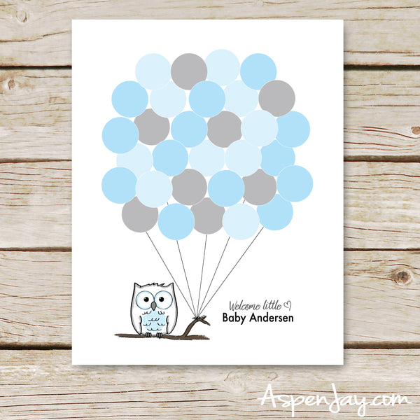 Blue Owl Balloon Guest Book