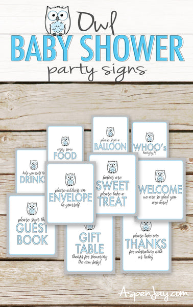 Blue Owl Baby Shower Table Signs