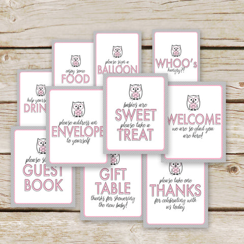 Pink Owl Baby Shower Table Signs