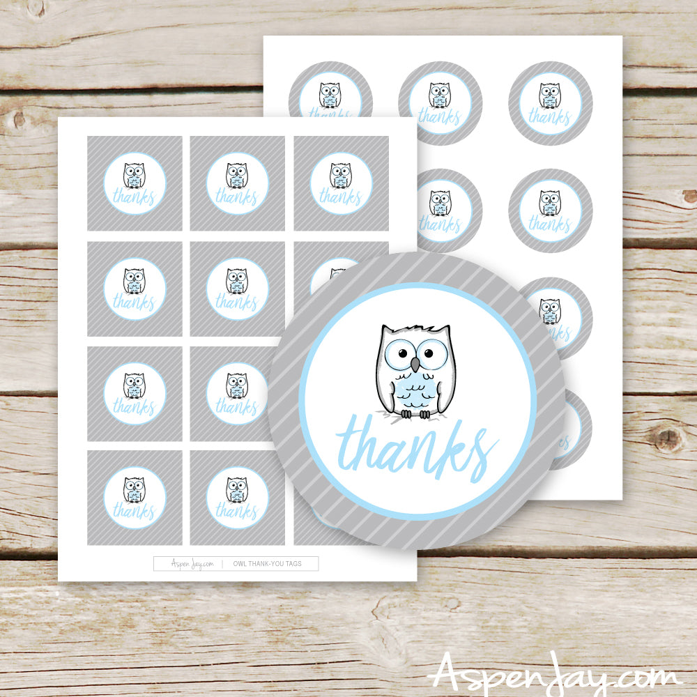 Blue Owl Favor Thank You Tags