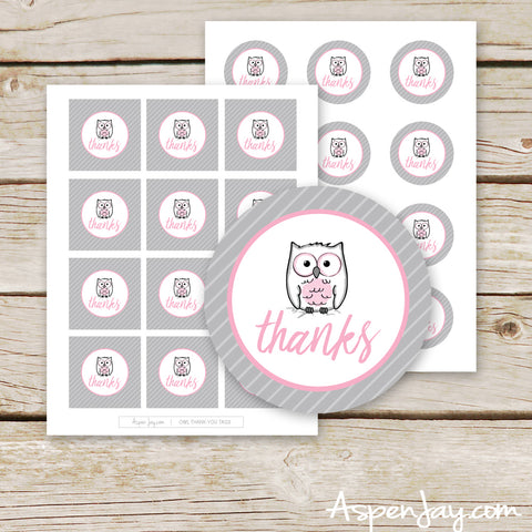 Pink Owl Favor Thank You Tags