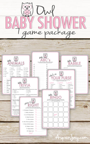 Pink Owl 7 Baby Shower Games Package