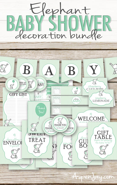 Green Elephant Baby Shower Decor Package