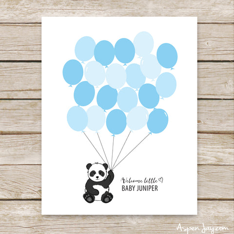 Blue Panda Balloon Guest Book