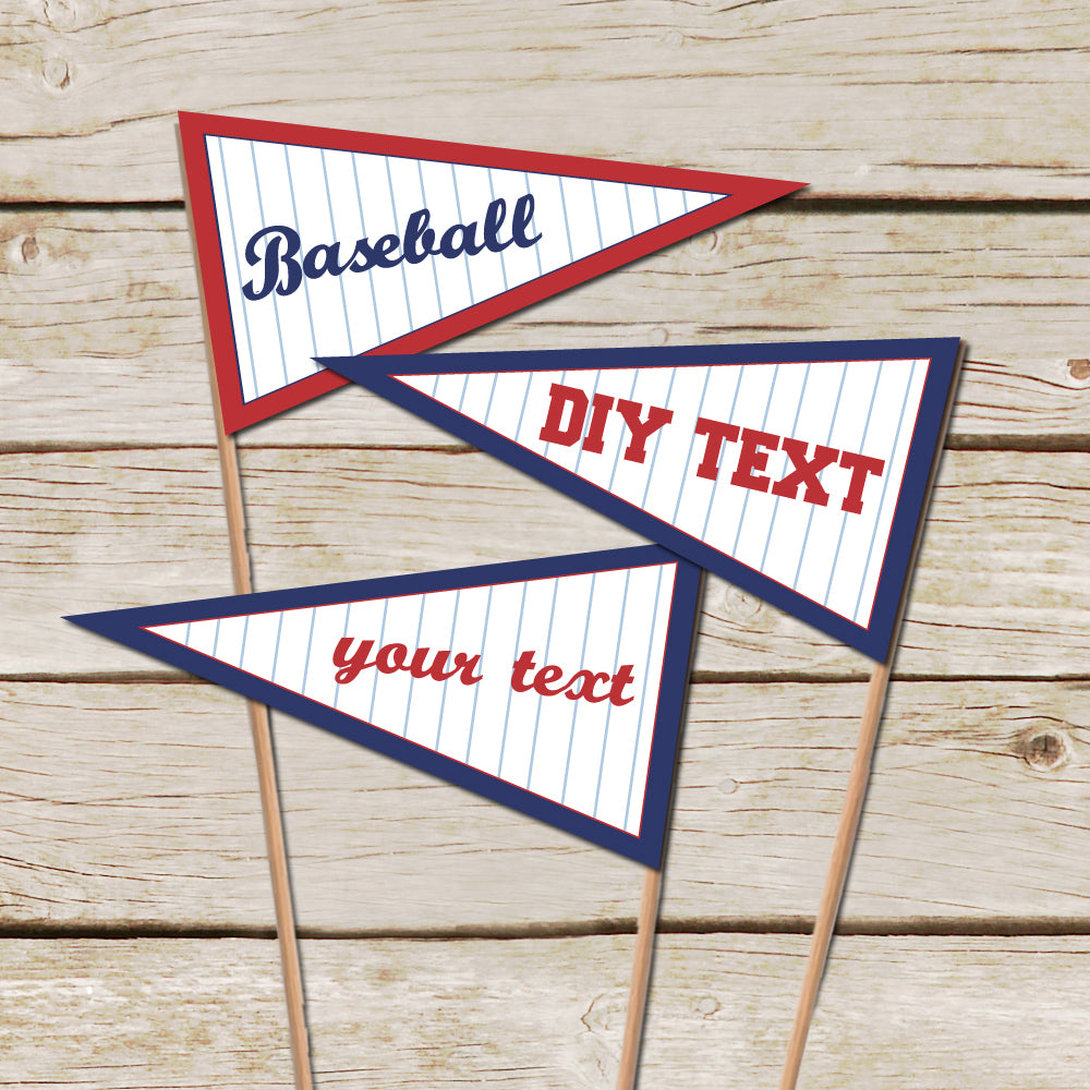 Editable Baseball Pennant Flags