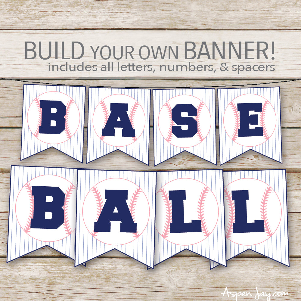 PINK Baseball Banner - ALL Letters & Numbers