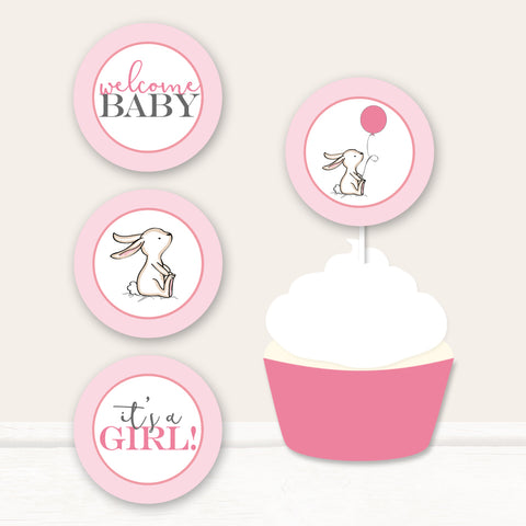 Pink Bunny Cupcake Toppers
