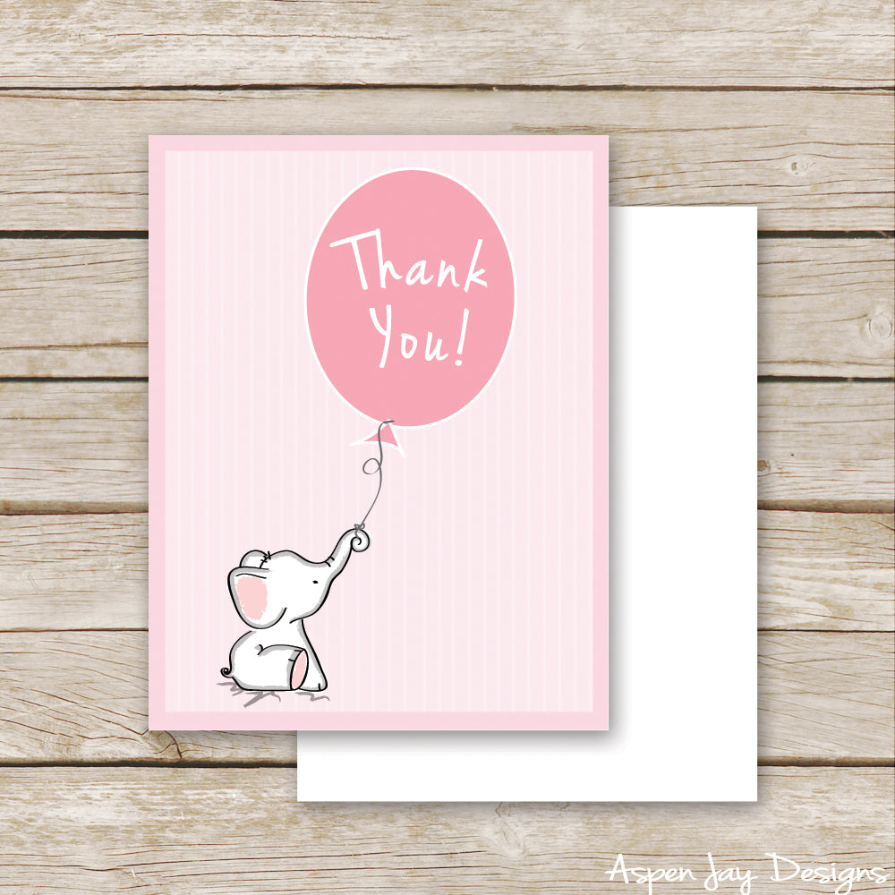 Pink Elephant Thank You Postcard