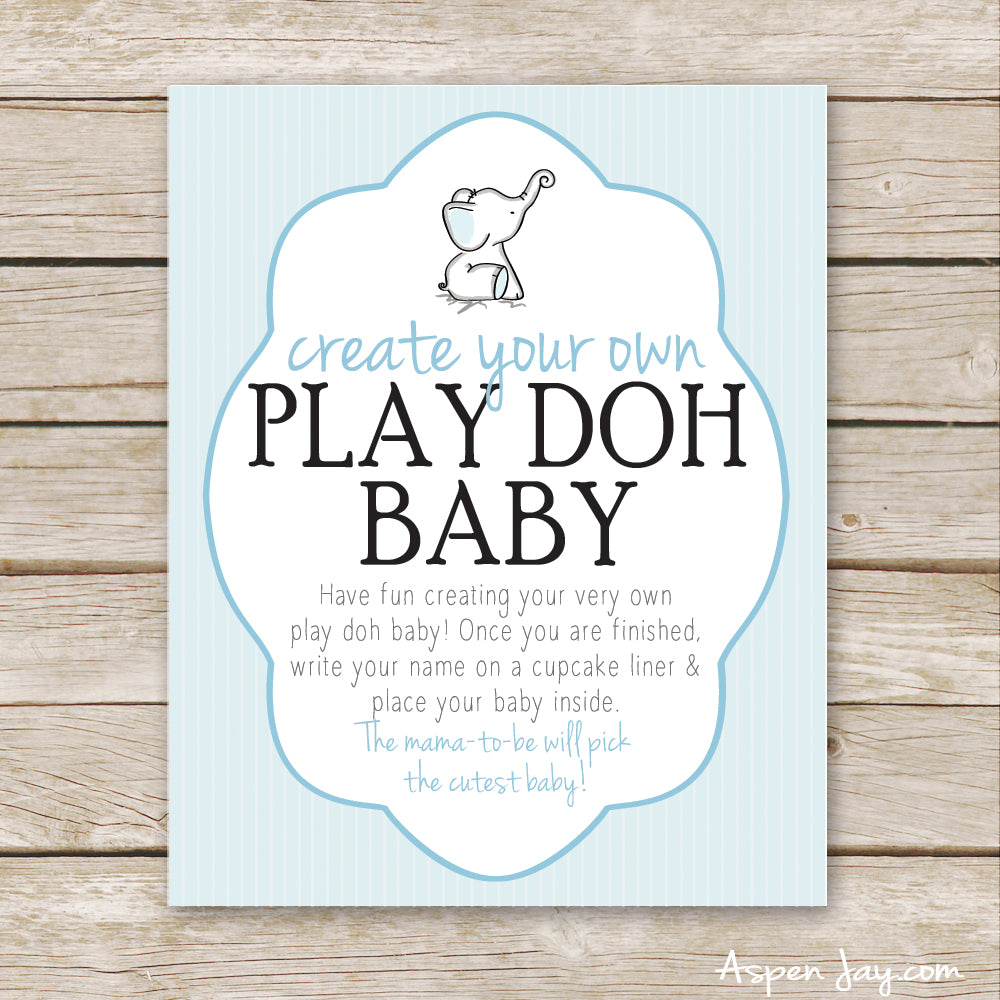 Blue Elephant Play Doh Baby Sign