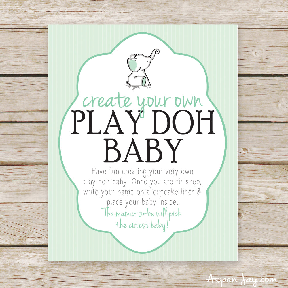 Green Elephant Play Doh Baby Sign