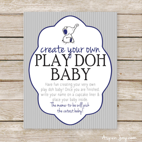 Navy Elephant Play Doh Baby Sign
