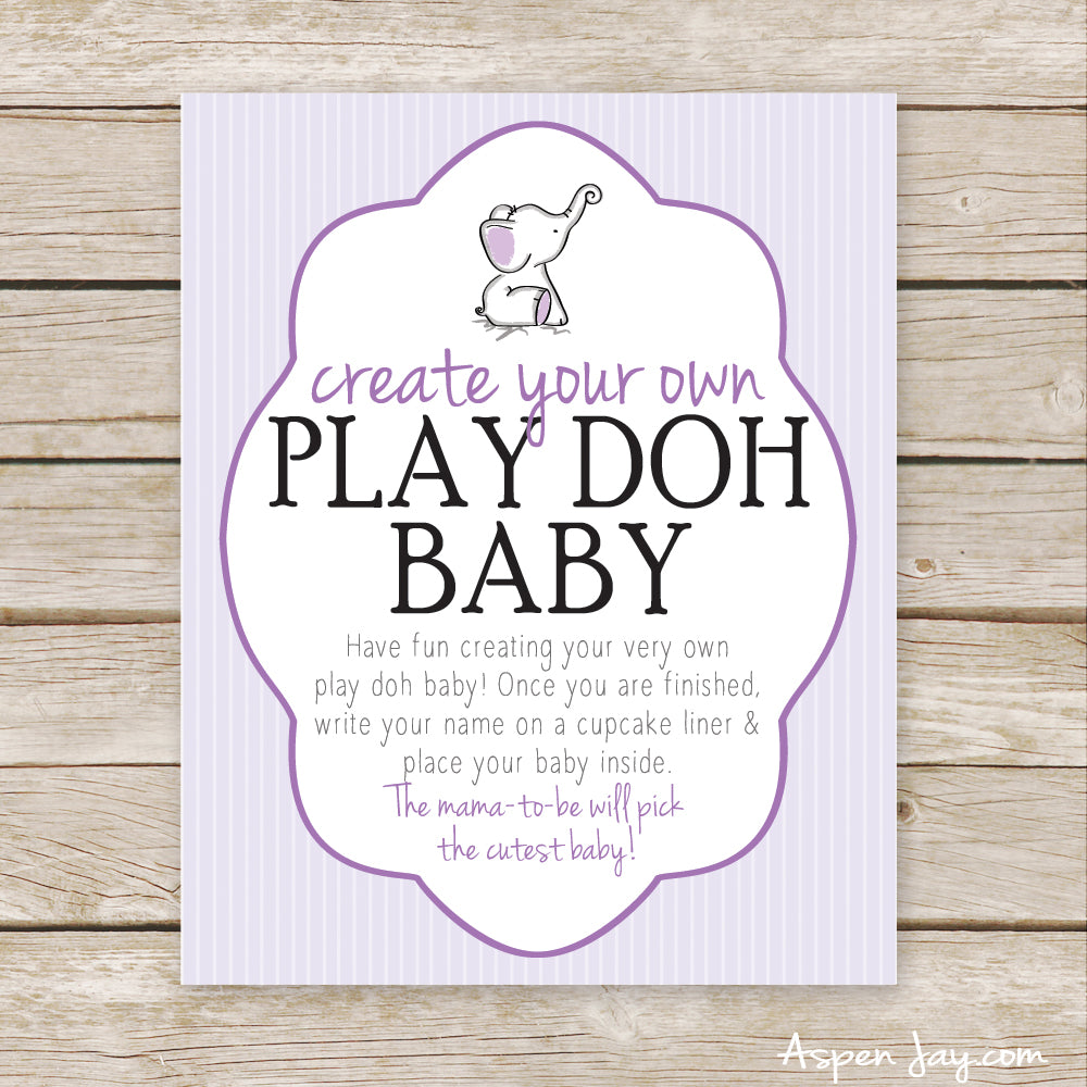 Purple Elephant Play Doh Baby Sign