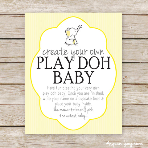 Yellow Elephant Play Doh Baby Sign