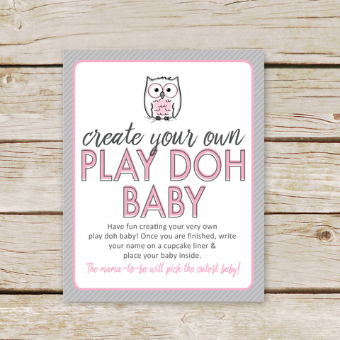 Pink Owl Play Doh Baby Sign